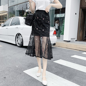 【bottoms】魅力全開フィッシュテール刺繡入りハイウエスト売れ筋スカート