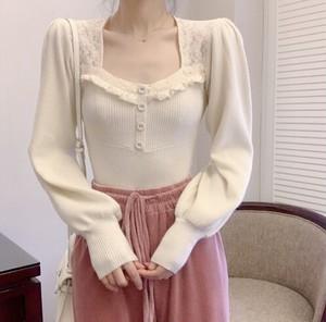 【トップス】古着感少女系レース切り替えニットセーター