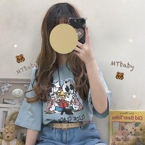 【トップス】キュート春夏カートゥーンプリント韓国風カジュアル半袖Tシャツ