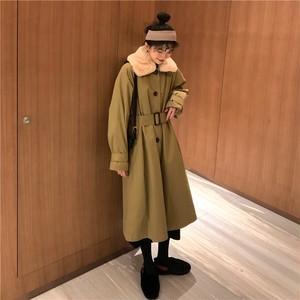 韓国ファッション チュニック スリム ベルト きれいめ コート・アウター