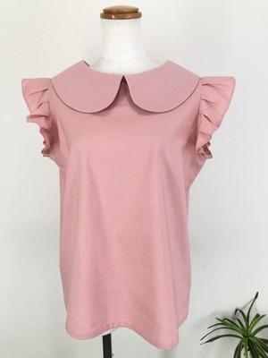 肌触りの良いシーチング生地で作った、可愛くてエレガントな スモークピンクの袖フリル丸襟ブラウス 一点もの 通勤 通学 コットン100% オールシーズン オーバーブラウス 快適 万能