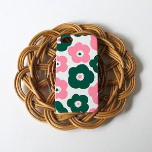 popy ( deep green × pink ) ハードケース型スマホケース【受注生産】★ Lサイズは+400円