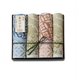 今治タオル「極選 魔法の糸」和柄オーガニックタオルダブルペアセット フェイス2/ウォッシュ2 mo0306-1705