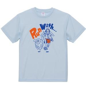 【RunwithドライTシャツ】アイスグレー×ブルーオレンジ