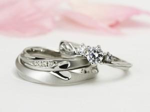 結婚指輪【ハッピーベリー】ダイヤモンド3点セット