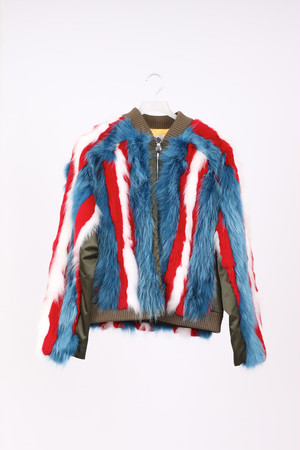 STRIPED FUR BOMBER JACKET