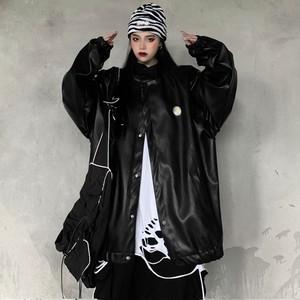 【トップス】長袖ストリート系無地PU暗黒系ファッションジャケット33605802