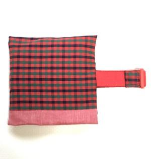 赤タータン   保冷袋付きランチベルト (新サイズ)