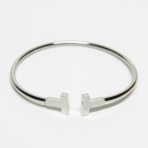T  Letter Opened Bangle 【SILVER】