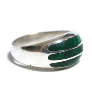 Vintage Sterling Silver Mexican Green Malachite Inlay Dome Ring