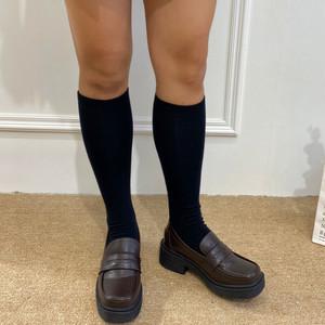 スクールローファー ミドルヒール 革靴 ラウンドトゥ チャンキーヒール ミドルヒール 厚底 合皮 革 黒 ブラック 茶 ブラウン 通勤 通学 学生 韓国