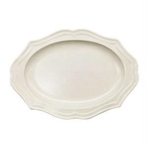 美濃焼 一洋陶園 カードル cadre 楕円 皿 プレート 約25×18cm 白 アイボリー 513-0040