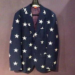 blue star  pattern tailored  jacket [B1243]
