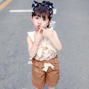 【セット】大人気リボン多色ラウンドネックプリント綿生地夏·セットアップ27302915