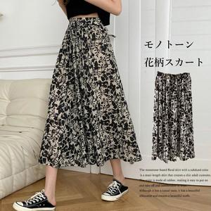 【即納】モノトーン花柄スカート ハイウエスト fa2274
