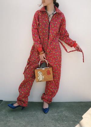 60s- 70s red floral quilting jump suits ( ヴィンテージ レッド 小花柄 キルティング オールインワン )