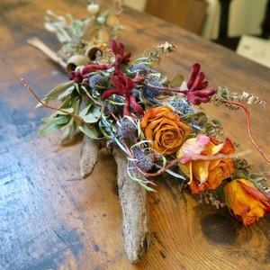 花と木片 <Rose Dry Arrangement>