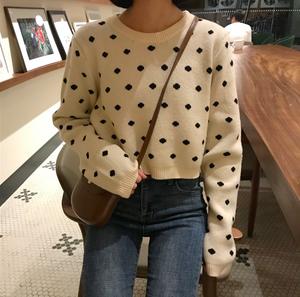 【お取り寄せ商品】フェミニンランダムドットセーター 8065