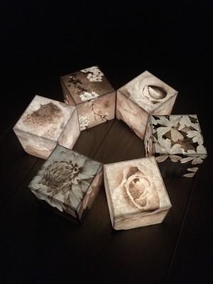 Heartful Cube Candle セピア色(コイン電池タイプ)