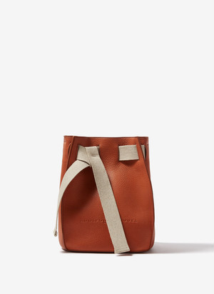 GRANULATED FAUX-LEATHER BUCKET BAG