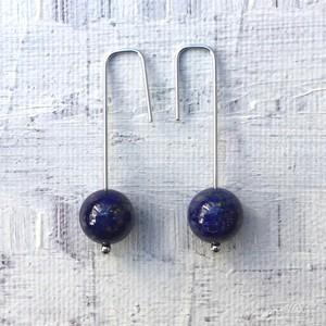 Crochet hook pierce / lapis lazuli (silver)