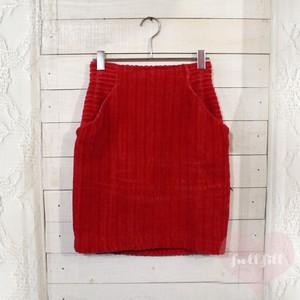 赤コーデュロイ タイトスカート