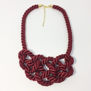 Silk Twist Code Necklace 袈裟結びのネックレス (brick red)