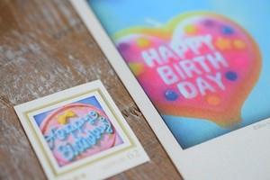 Happy Birthdayのカード3枚セット(オリジナル切手1枚付き)