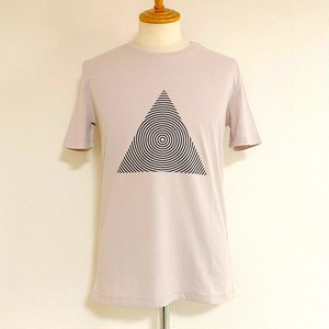 Triangle Print Crew Neck T-shirts Beige