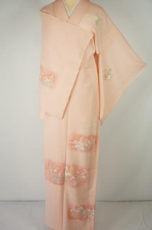 美品【夏】付下げ訪問着 絽 正絹 花柄 鴇色 ピンク 225
