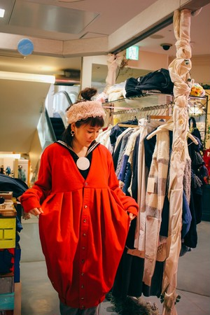あの日、スカートだったロングバルーンカーディガンワンピース/ nisai+tojikomiコラボ