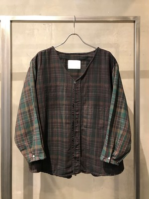 TrAnsference light flannel collarless check shirt - dark forest