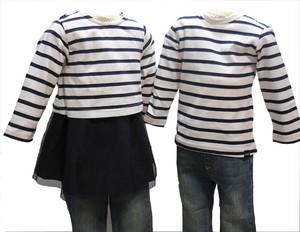 双子ベビー服2枚セット ミックスツイン  チュールスカートボーダーワンピースチュニック&長袖Tシャツ(黒×白)<18ss-mt003r-c>