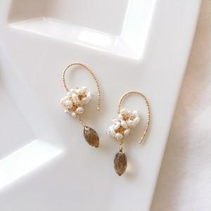 Brown quartz & Freshwater Pearl