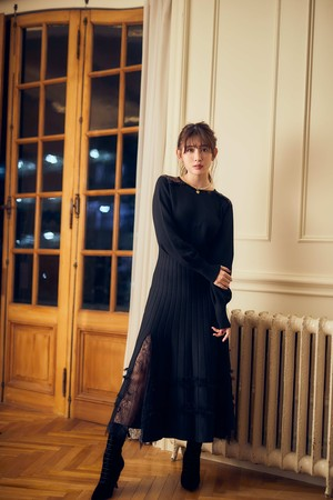 Lace Trimmed Knit Long Dress