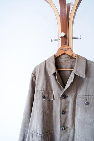 """【1950s】""""Animal Buttons"""" Cotton Canvas French Hunting JKT / v656"""