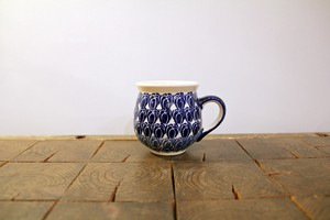 ポーランド食器 ポーリッシュポタリー マグカップS 200ml 鱗柄/紺色
