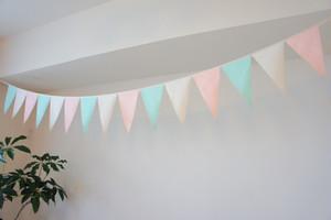 布ガーランド フラッグ 旗 結婚式 誕生日 パーティー キャンプ 飾り パステルグリーン