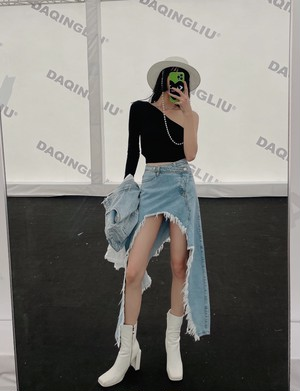 ハードダメージUカットデニムスカート 170