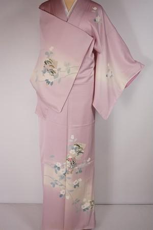 未使用 手描き友禅 訪問着 花柄 色紙 正絹 淡紅色 ピンク 紫 300