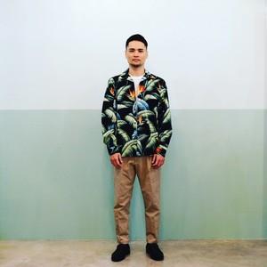 Mountain Men's 長袖オープンアロハシャツ / バードオブパラダイス / Black