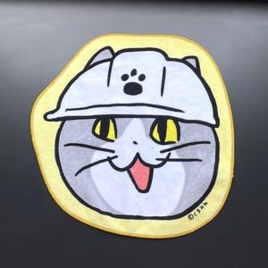 仕事猫のダイカットハンドタオル