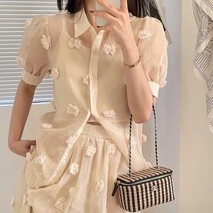 【送料無料】  fluffy flower blouse 全2色・U2210