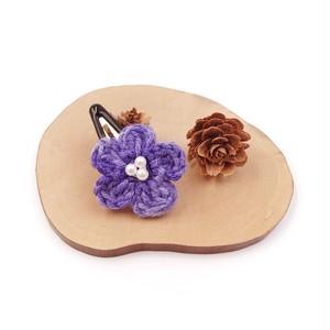 段染め小花のパッチンピン*パープル