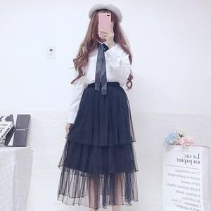 【セットアップ】日系POLOネックスウィート長袖シャツ+膝下丈Aラインスカート二点セット