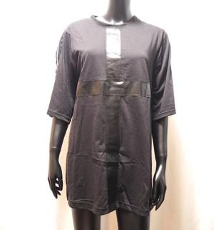 クロス&ジップデザイン五分袖ビッグTシャツ