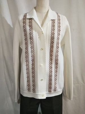 Collared knit cardigan /Made In Yugoslavia [G-1101]