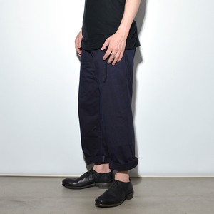 "Leather Cotton ""Wide"" Pants 〈Navy〉"