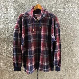 90's プルオーバー チェックシャツ XLサイズ 長袖シャツ エンジ ボルドー