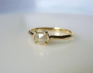 ナチュラルダイヤモンドのK14の指輪(ミルキーホワイトグレー)